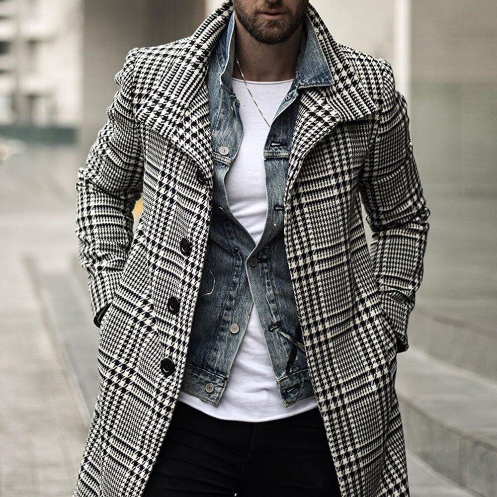 Coat Men 2021 New Autumn Winter Fashion Lattice Lapel Long Sleeve Single Breasted Casual Design Simp