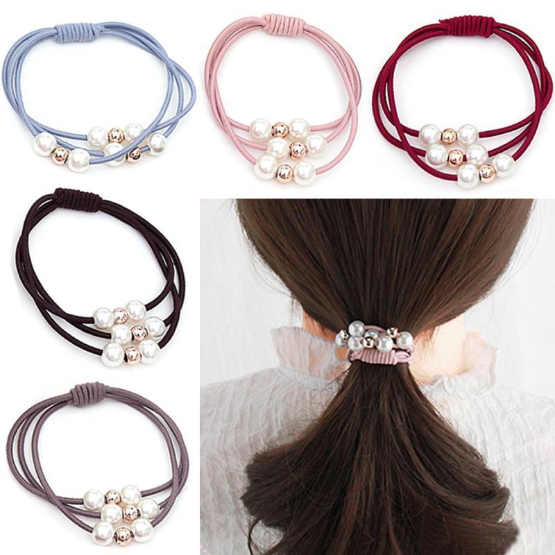 1pc corda de cabelo meninas multi-camada pérola cor sólida elasticidade anel de cabelo hairband acessórios de cabelo leve ativo bonito tslm2