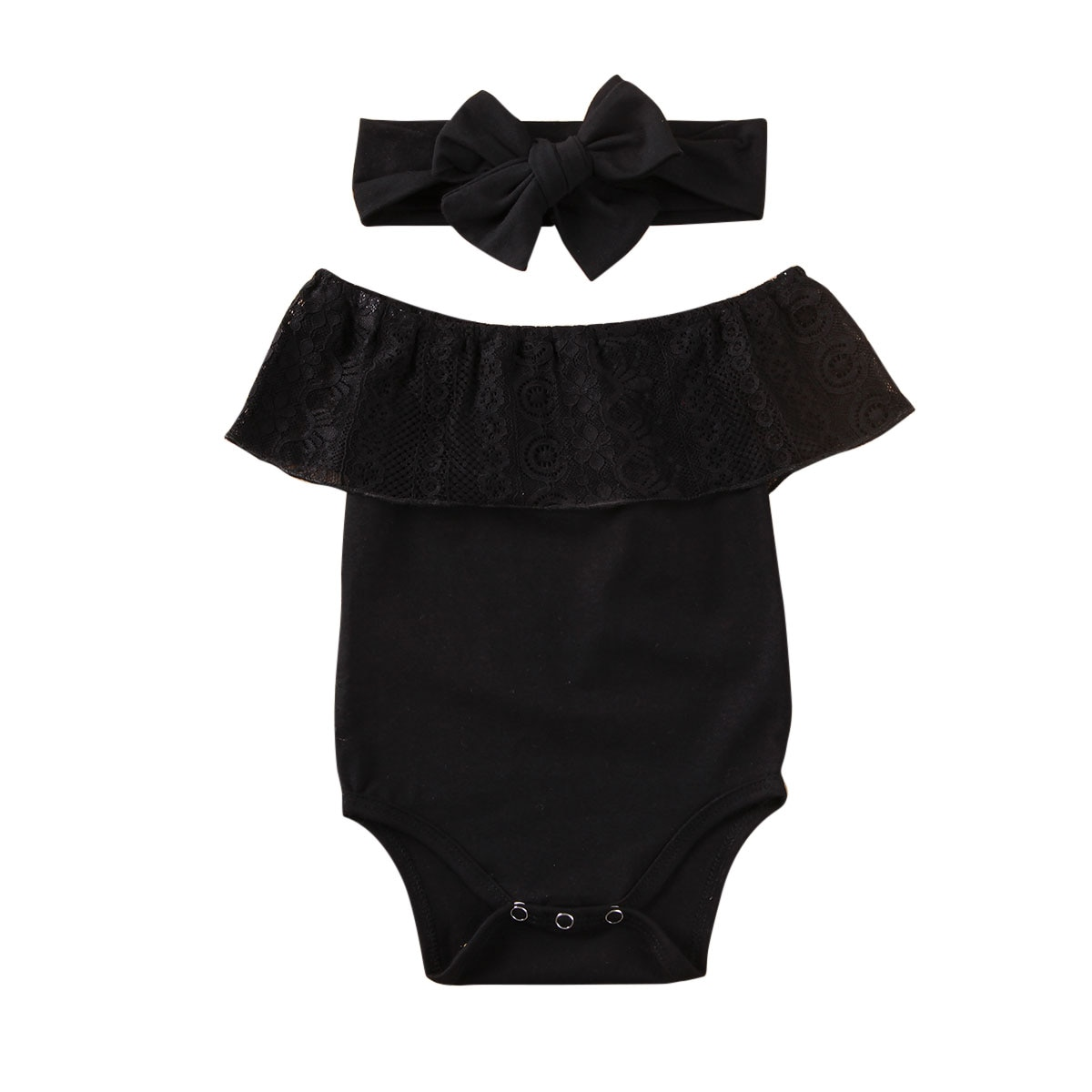Newest 2PCS Newborn Baby Girl Clothes Romper Bodysuit Headband Outfit Set Indent Girls Sweet Lace Romper Bodysuit Black