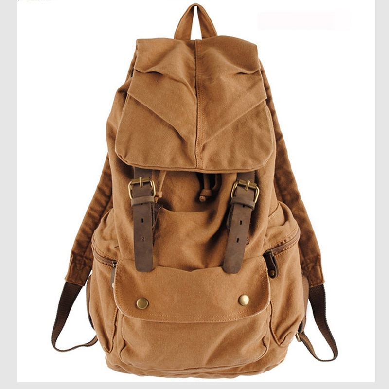 حقيبة ظهر جلدية كلاسيكية للرجال والنساء ، حقيبة ظهر قماشية عصرية ، حقيبة مدرسية برباط ، 2017