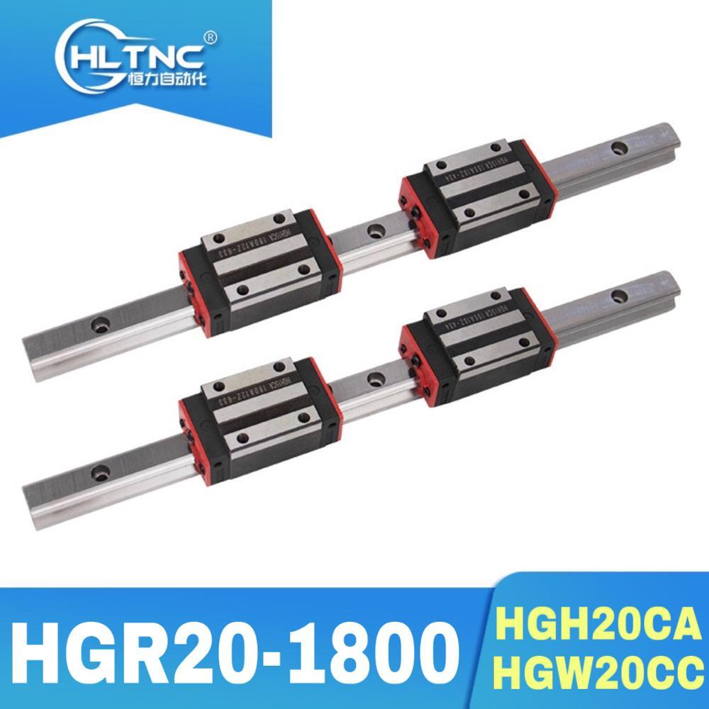 جديد 20 مللي متر نوع 2 قطعة الخطي دليل السكك الحديدية HGR20-1800mm طويلة مع 4 قطعة من الخطية كتلة النقل HGH20CA/HGW20CC ل CNC أجزاء