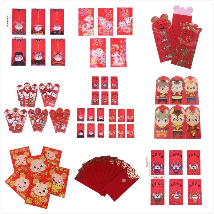 10 uds/6 uds 2020 Año Nuevo Chino dinero rojo sobres Año del paquete Rat