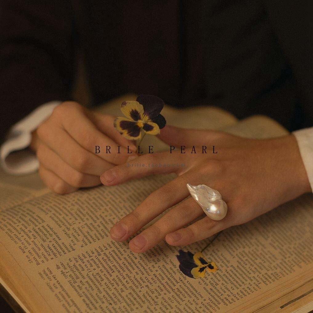 BaroqueOnly colección especial de perlas barrocas naturales de agua dulce 15-30mm con anillo ajustable de plata S925 para regalo de mujer RFA