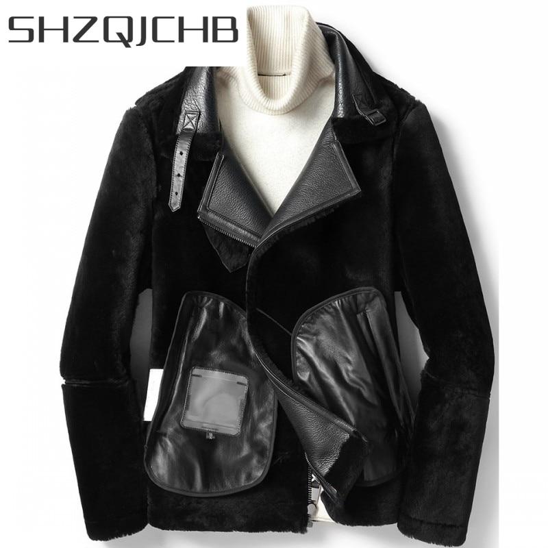 JCHB 2021 Winter Thick Warm Mens Biker Natural Shearling Coat Real Fur Wool Lining Overcoat Sheepskin Genuine Leather Jacket Plu