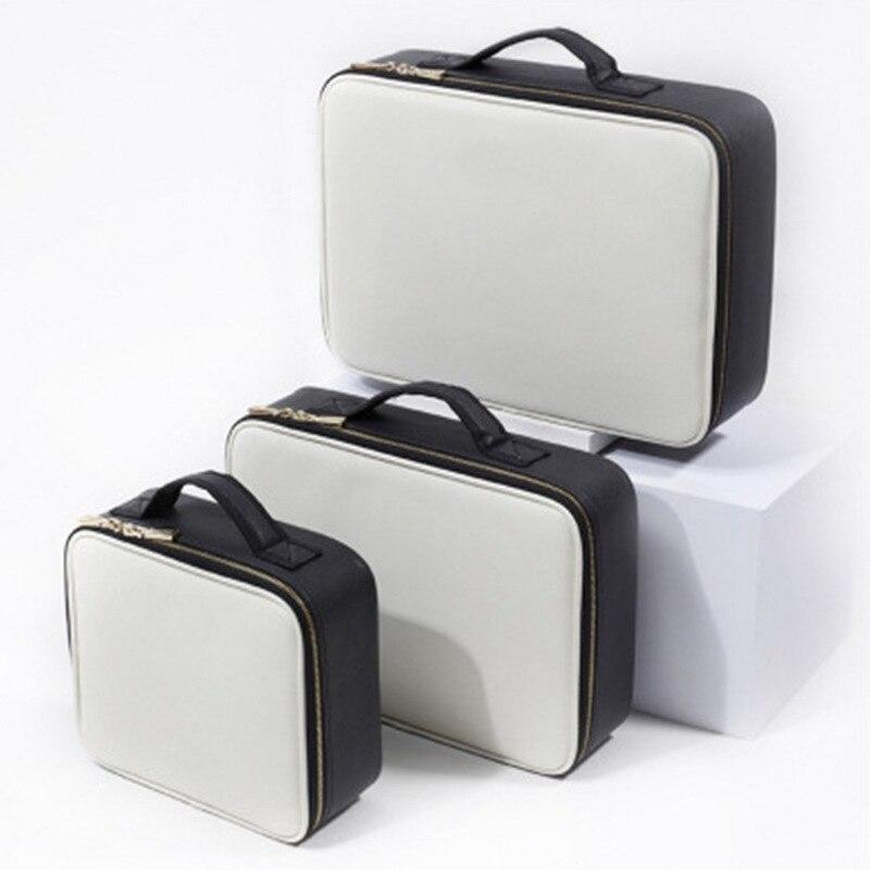 موضة PU سفر حقيبة مستحضرات تجميل صندوق تخزين المحمولة غسل حقيبة التخزين فرشاة للمكياج متعدد الوظائف سعة كبيرة منظم