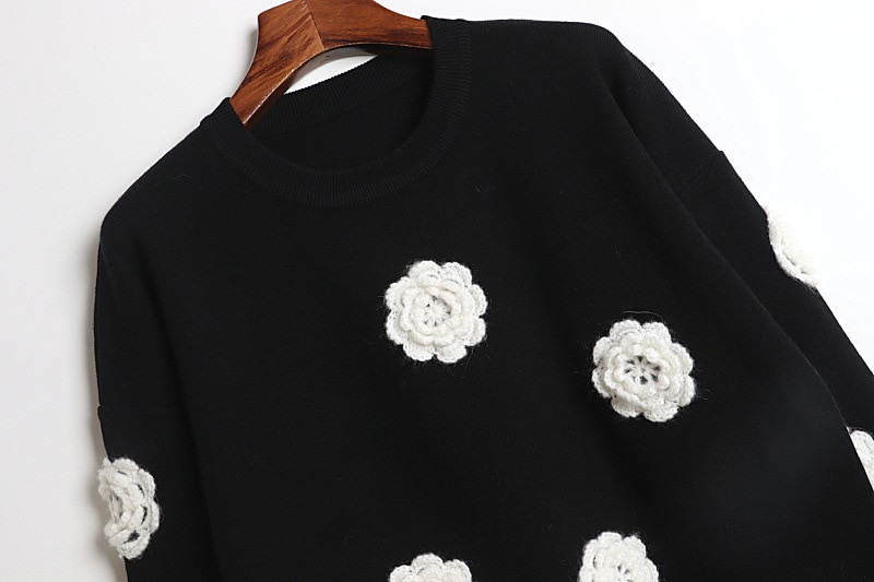 Knit Sweaters Women Pullover Sweater Top Black Long Sleeve Casual Sweater enlarge