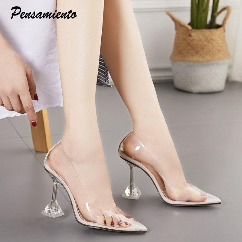 Salto alto confortável, salto alto de 11cm, feminino, sapatos de salto transparentes, festa feminina, sapatos de casamento, elegante, bico ponteagudo, escritório sapatos com calçados