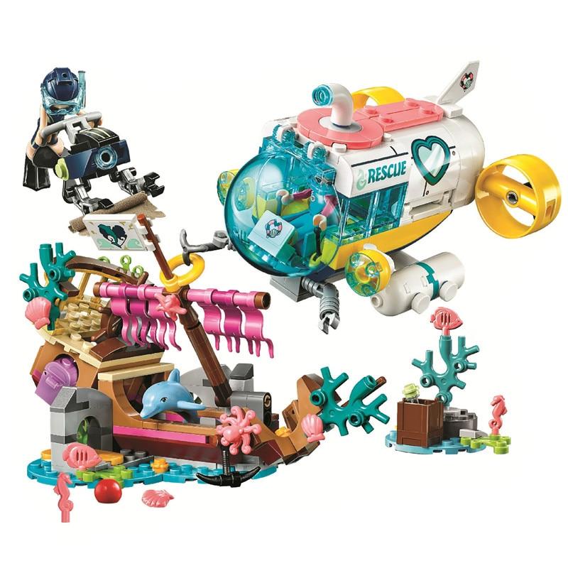 Amigos golfinhos missão de resgate blocos de construção kit tijolos clássico menina filme modelo crianças brinquedos para o presente das crianças