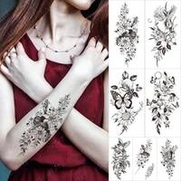 waterproof temporary tattoo sticker owl flowers bird butterfly flash tattoos moon sunflower body art arm fake tatoo women men