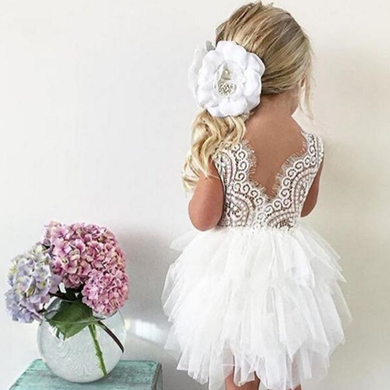 Toddler Girl Baby Clothing Dresses Baby 1 Year Birthday Christening Lace Girls Tulle Dress Kids Infant Party Cake Smash Outfit