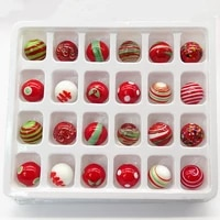 24pcs custom red series striped hand made glass balls marble rarity children game toys creative christmas home decor accessories