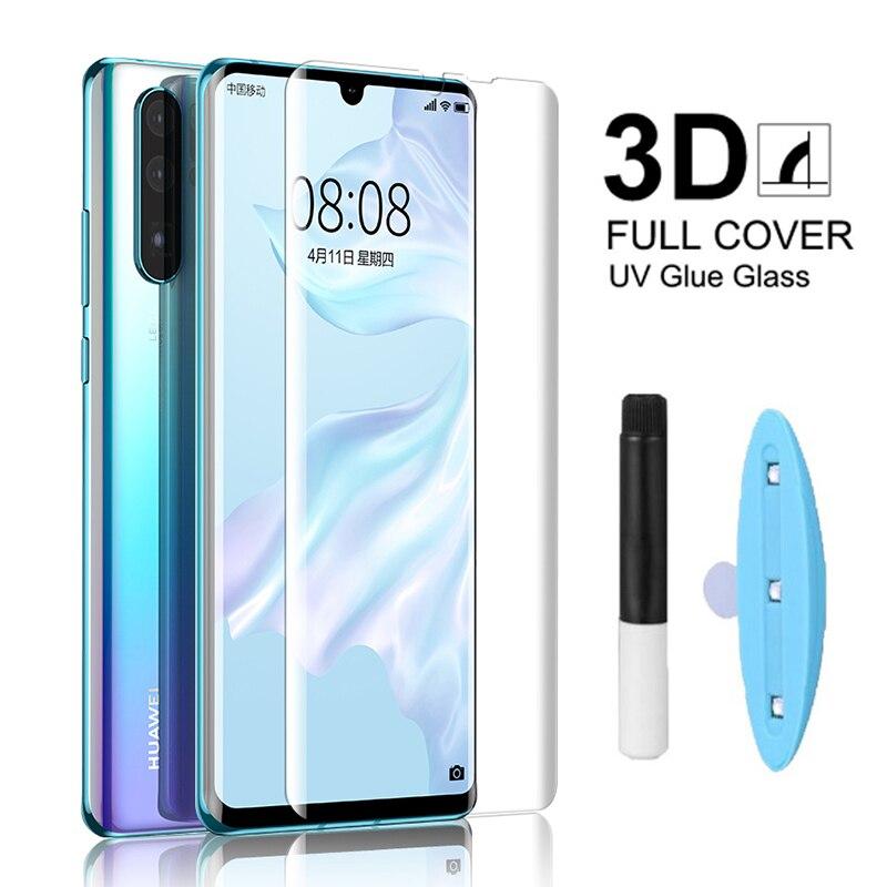 Para Huawei P40 P30 Pro Protector de pantalla de vidrio UV para Huawei Mate 30 P20 Pro Mate 20 Lite Nano líquido UV pegamento película de vidrio templado