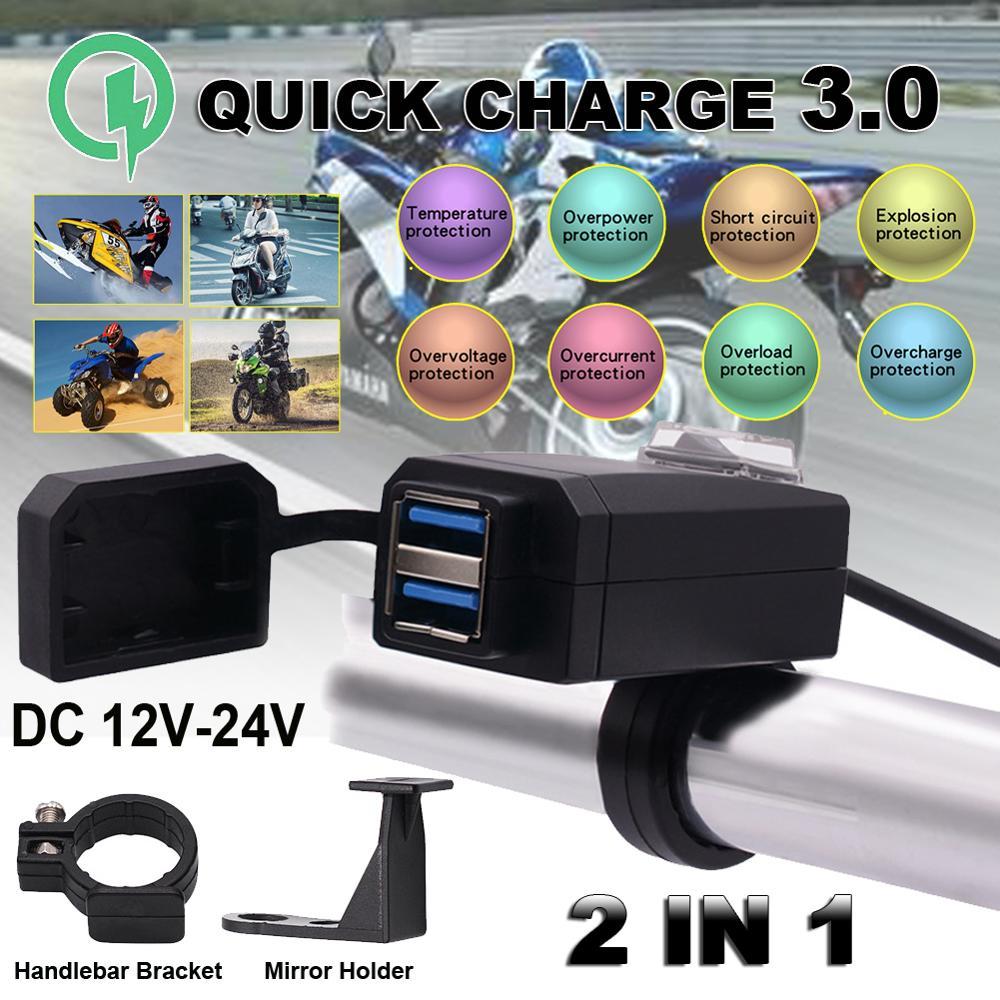 Universal QC3.0 USB cargador de motocicleta impermeable Dual USB cargador rápido 12V adaptador de fuente de alimentación