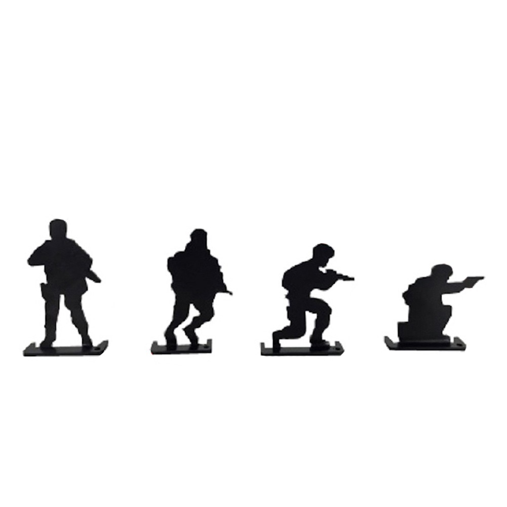 4 × Freestanding Metal Character Knock Down Target Kit Character Shooting Gallery Set Simulation Ornaments For Shooting Practice