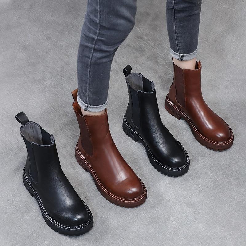 PEIPAH-حذاء نسائي من جلد البقر ، حذاء تشيلسي دافئ ذو نعل سميك للثلج ، لون سادة ، لفصل الشتاء