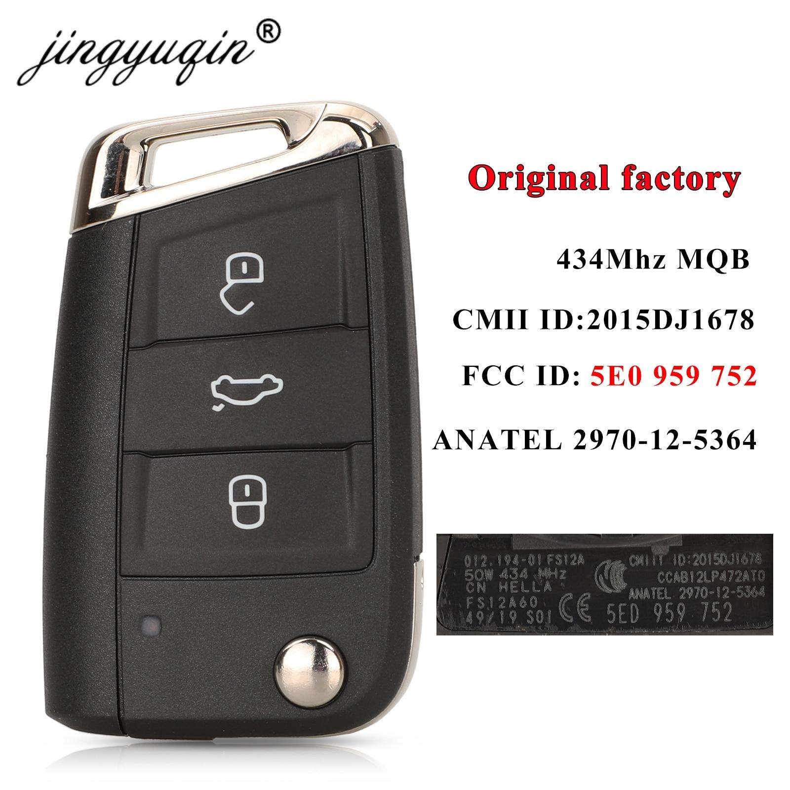 Jingyuqin الأصلي مصنع MQB مفتاح السيارة ل سكودا اوكتافيا 2014-2017 5E0959752 434Mhz 3 أزرار فليب البعيد O-E-M مفتاح Hu66 Hu162t