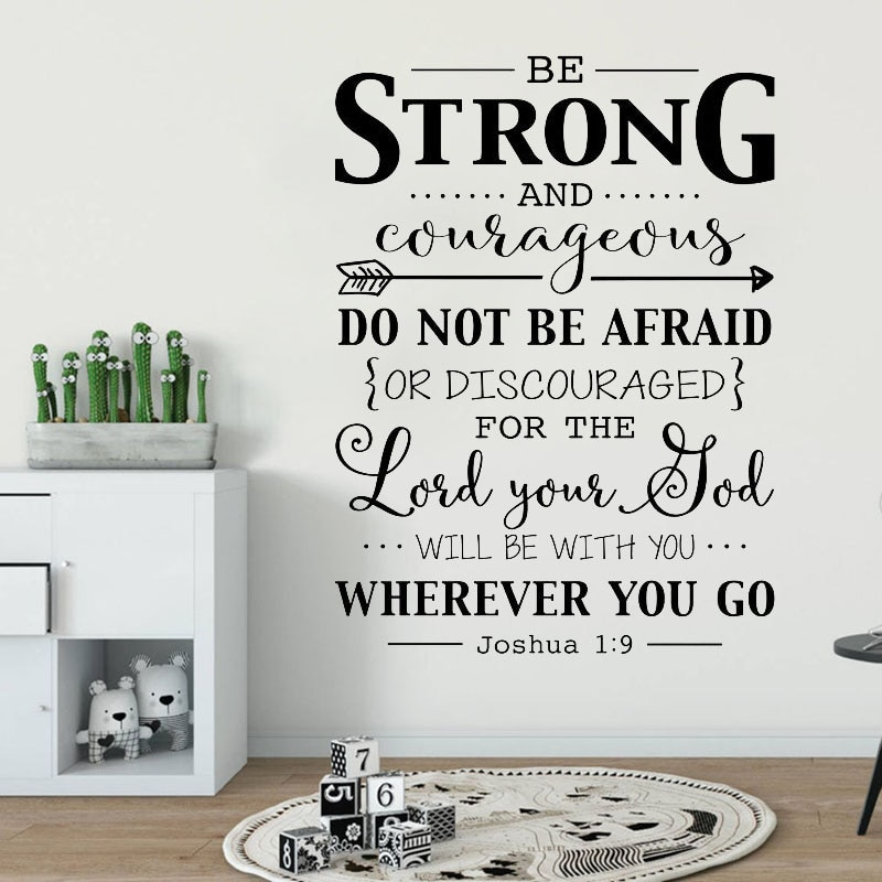Быть сильным и смелым наклейка на стене Цитата Библейский стих христианский Настенный декор наклейки Джошуа 1:9 наклейка для детей комнаты A184