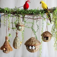 1pc weaved birds nest bird cage natural grass decorative egg cage bird house outdoor hanging hand woven parrot pet straw houses