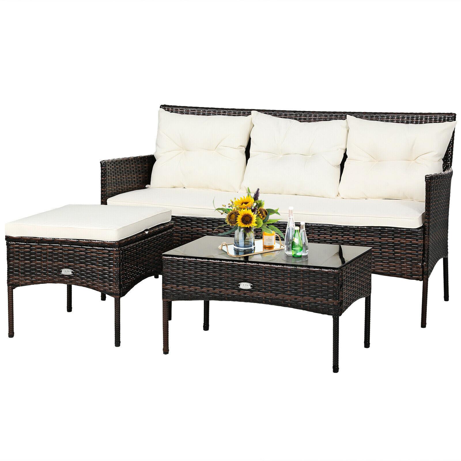 Комплект мебели из 3 предметов для патио из ротанга, 3-местный диван, мягкий стол для сада HW67714WH