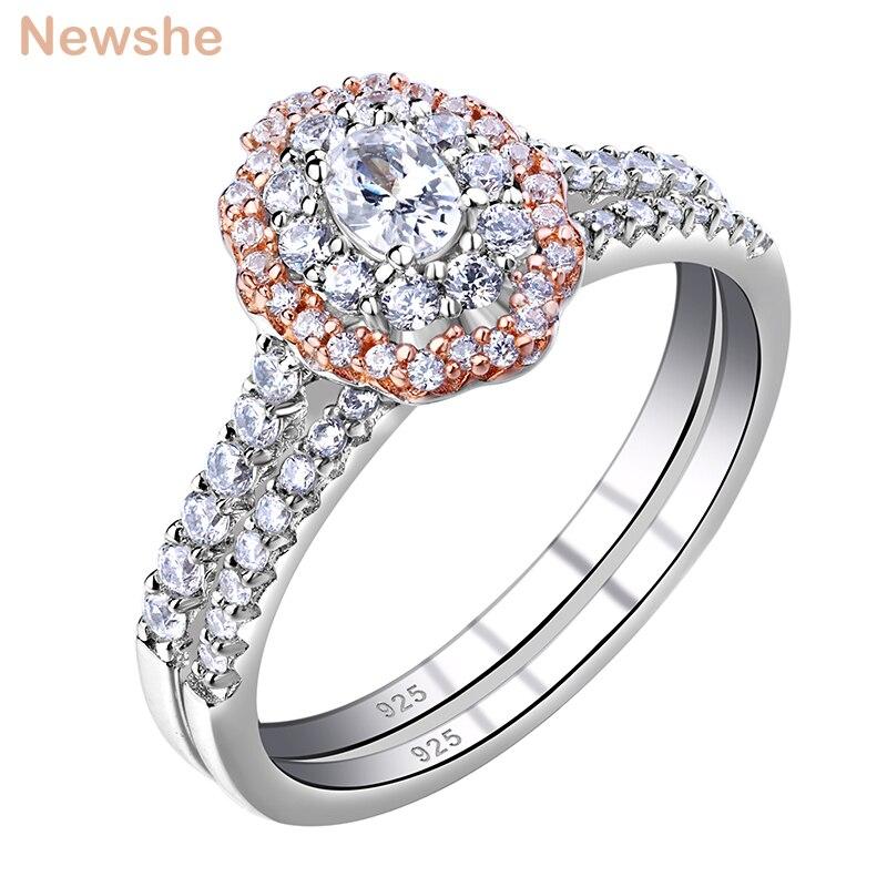 Newshe auréola rosa cor de ouro 925 prata esterlina anéis de casamento para as mulheres forma oval aaa cz anel de noivado conjunto nupcial br0830