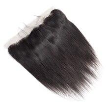 Onda mágica em linha reta 100% cabelo humano 13x4 fechamento frontal do laço pré arrancado com o cabelo do bebê brasileiro remy extensões de fechamento do cabelo