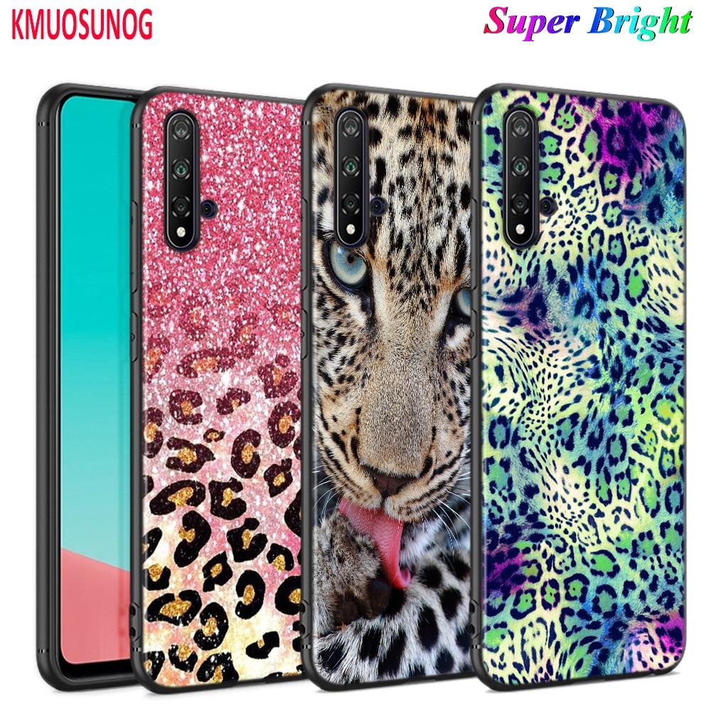 Funda negra con patrón de piel de leopardo y tigre para Huawei Nova 5 5T 3i P Smart Z Plus 2019 P30 P20 Pro P10 P9 Lite Plus