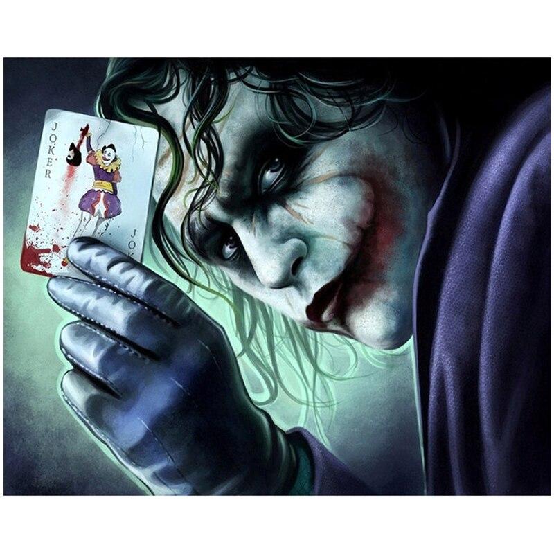 5d DIY diamante pintura ronda completa taladro Joker payaso jugar al Poker foto mosaico de cristal de diamante bordado Anime Cruz puntada