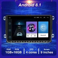 """Автомагнитола Podofo, универсальная мультимедийная система на Android, с 9 """"экраном, GPS, Wi Fi, Bluetooth, для VW/Golf/Skoda/Seat, типоразмер 2DIN"""