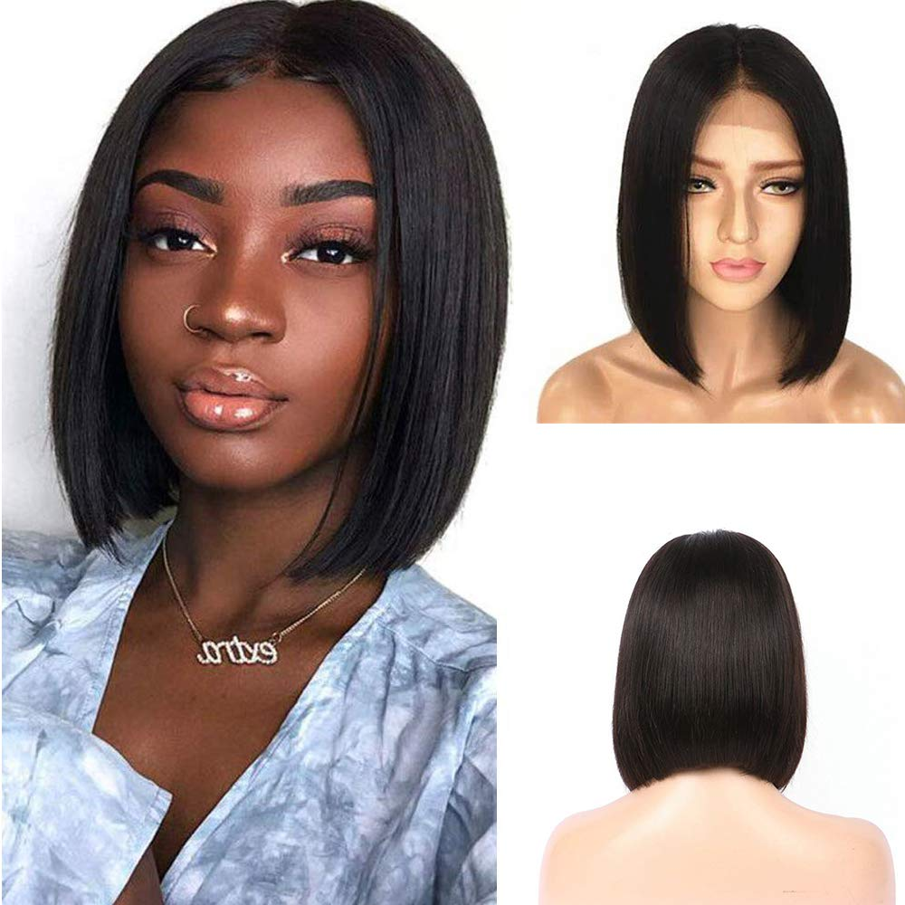 Straight Bob wig human hair lace front 4x4 Closure short Brazillian wigs ALEESA 180% for women pre plucked fashion restyle hair