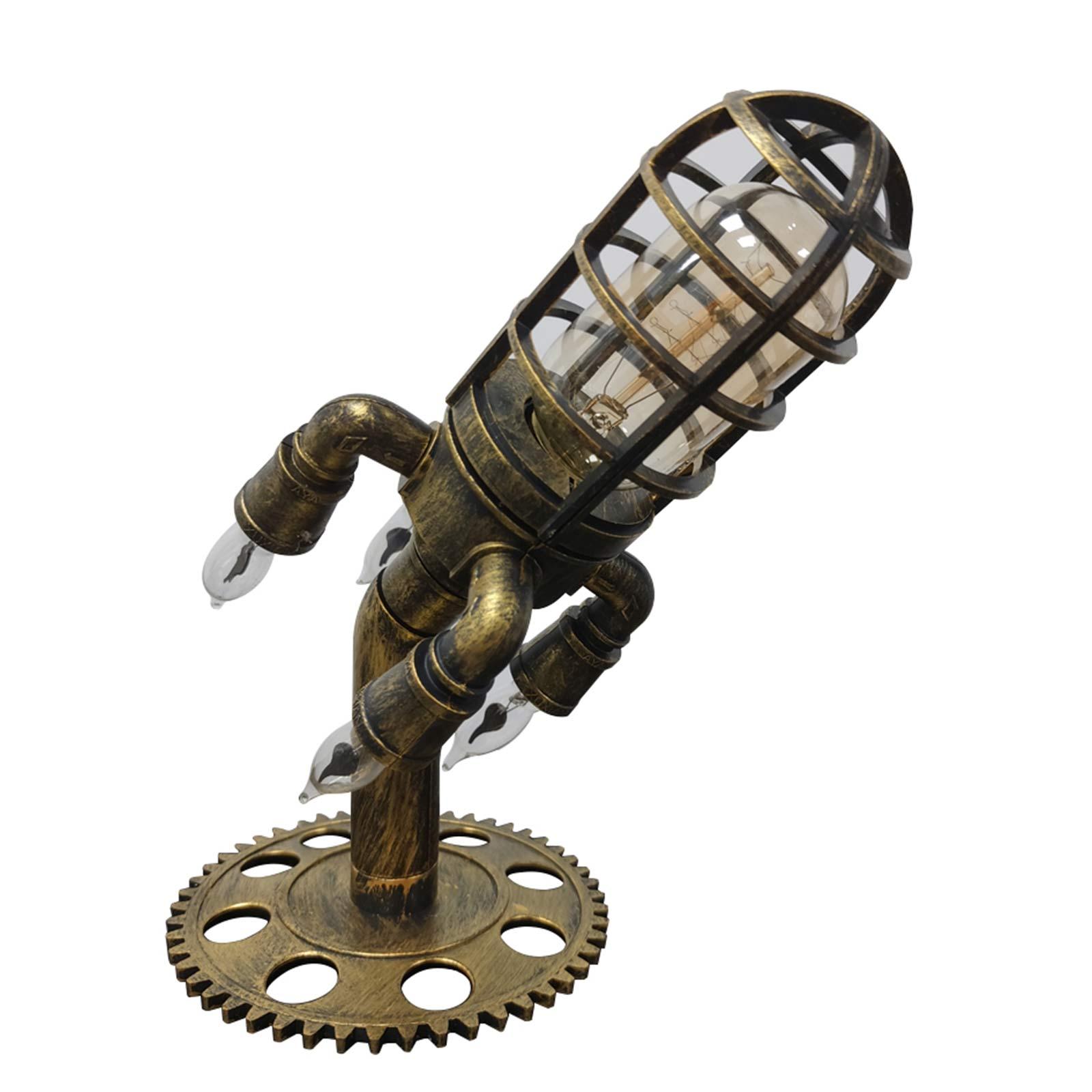 مصباح Steampunk صناعي عتيق معدني صاروخ مكتب ديكور ريترو لغرفة النوم غرفة المعيشة مكتب السرير الجدول منضدة