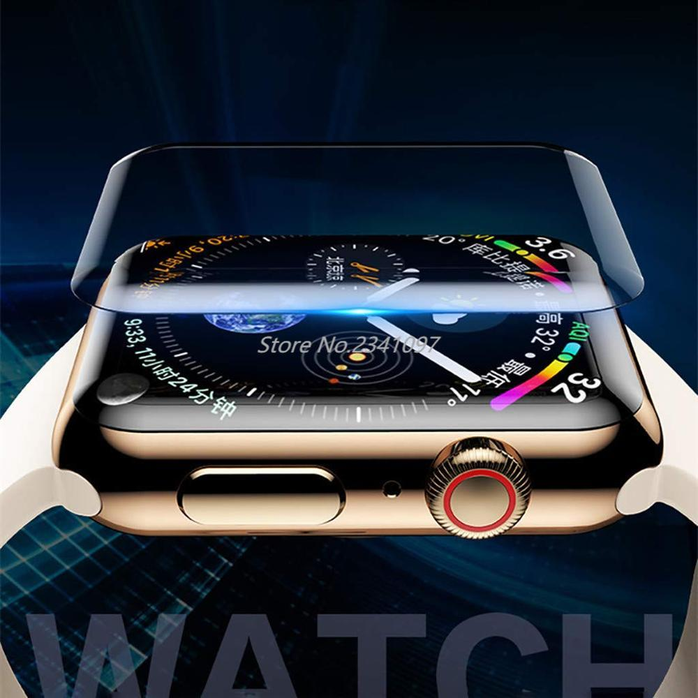 for apple watch tempered glass 44 38 42 40 mm full coverage curved edge frame bumper for i watch series 4 3 2 1 screen protector 20D Full Coverage Tempered Glass for Apple Watch 38 42 40 44mm UV Glue Screen Protector for Watch 5 4 3 2 Series Protective Film