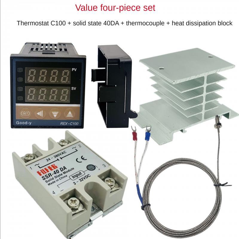 Digital PID Temperature Controller REX-C100 REX C100 thermostat + 40DA SSR Relay+ K Thermocouple 1m Probe RKC rex c100 digital rkc pid thermostat temperature controller digital 40a ssr relay k thermocouple probe heat sink