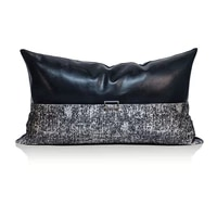 lan jingze black pu leather cushion cover grey patchwork pillow case home decorative waist pillows for living room 30x50cm