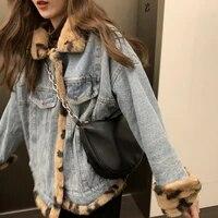 both sides wear plus velvet thick denim jacket leopard print fur cotton padded coat splicing korean loose womens clothing 2021
