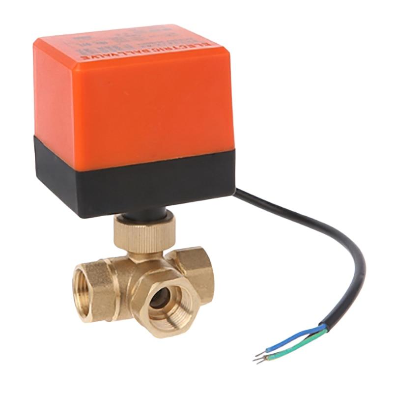 AC220V 3 vías 3 cables 2 Control motorizado válvula de bola actuador eléctrico DN15