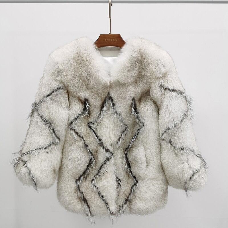 جديد وصول الشتاء النساء الموضة تموج المياه أبيض أسود طويل ريال فوكس الفراء MJF-FC-12