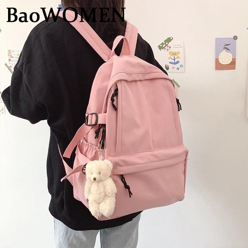 BaoWomen College Students Backpack Kawaii Book Cute Ladies Bag Waterproof Nylon Backpack For Girls School Bag Laptop Harajuku рюкзак xiaomi 90 points commuter ladies backpack laptop waterproof nylon bag blue