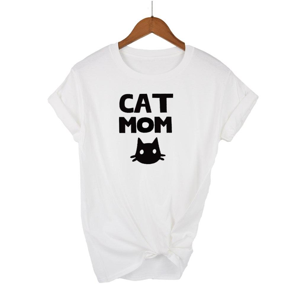 COOLMIND QI0232B 100% algodón estampado de gato camiseta de mujer pantalón corto casual manga camiseta de mujer con cuello redondo suelta mujer camiseta tops camiseta