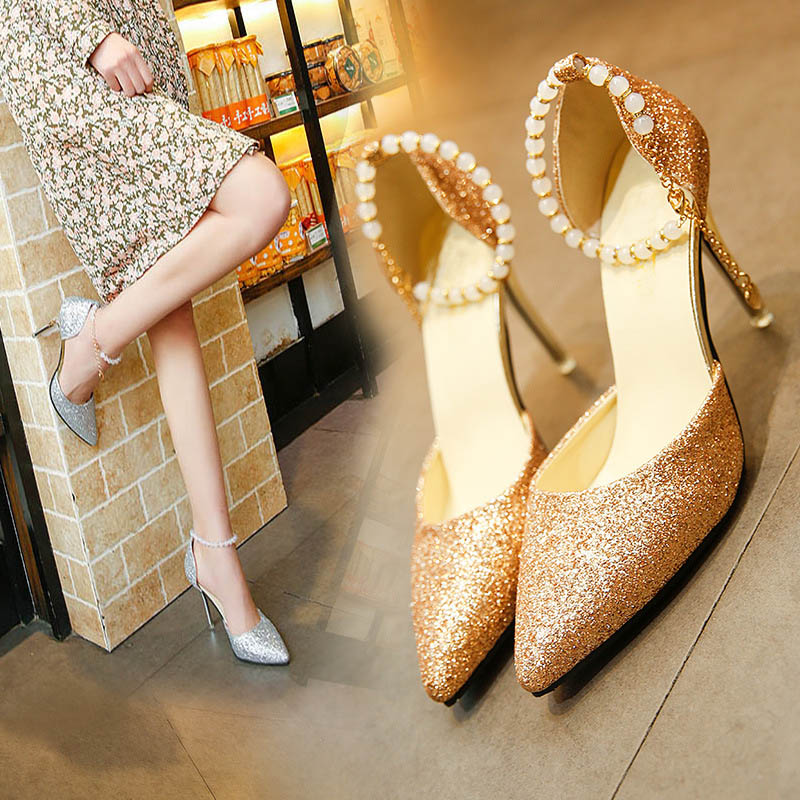 Fashion New Women Pumps Shoes Woman Classic Sequined Ladies Shoes High Heels Sexy Pointed Wedding Party Women Shoes