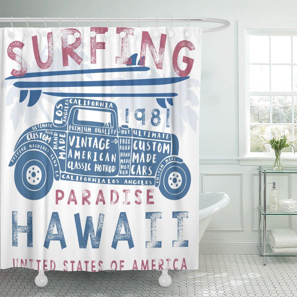 Clássico vintage surf carro américa praia legal gráfico hawaii cortina de chuveiro tecido poliéster 72x78 polegadas conjunto com ganchos