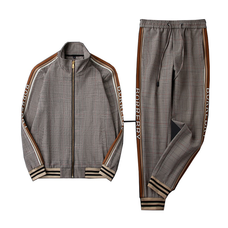 Khaki autumn and winter men's sports suit new trendy plaid stand collar jacket trousers casual jacket