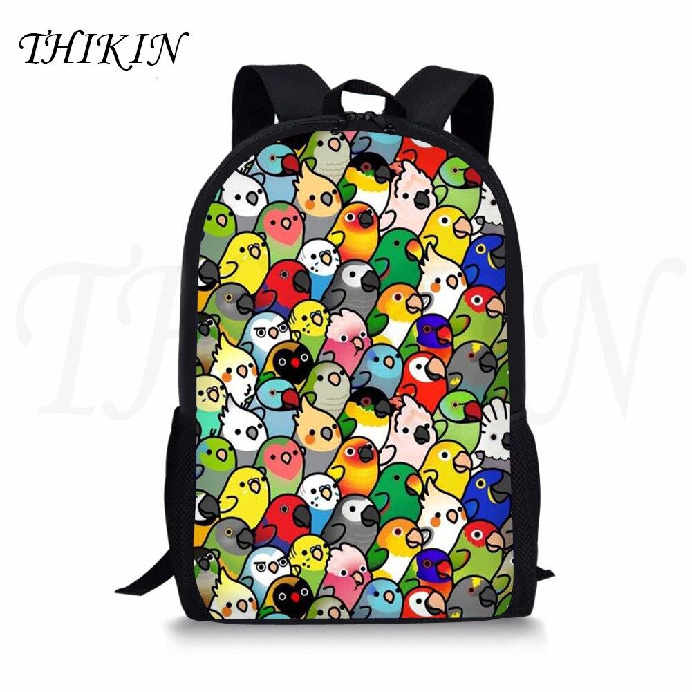 THIKIN Cute Cartoon Little Parrots Print Girls Backpack for School Classic Personalized Kids Bagpack Popular Boys Satchel Custom