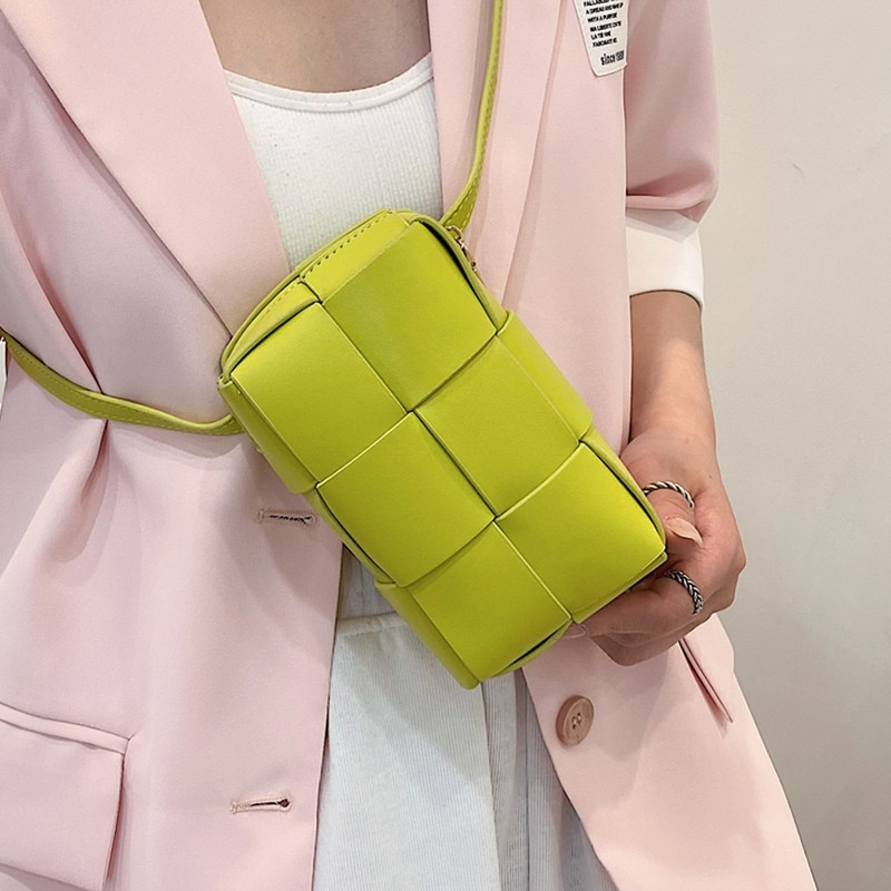 Small Box Weave Shoulder Bags for Women 2021 New Quality Pu Leather Waist Bag Plaid Crossbody Belt Bag Lady Knit Phone Chest Bag