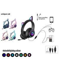 Новый продукт проводной кошачьими ушками гарнитура сменный подавление шума двойной mic виртуальный канал 7,1 светодиодный освещение для милы...