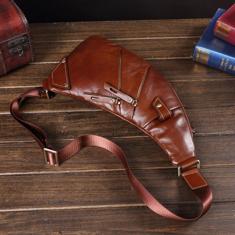 Bags 2021 New Trend Leather Men Chest Bag Genuine Leather Men's Bag Casual Small Messenger Bag Korean Retro Shoulder Bag Male