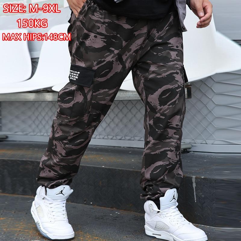 Брюки-карго камуфляжные мужские, Джоггеры в стиле милитари, армейские камуфляжные штаны в стиле хип-хоп, хлопковые спортивные штаны 6XL, одеж...