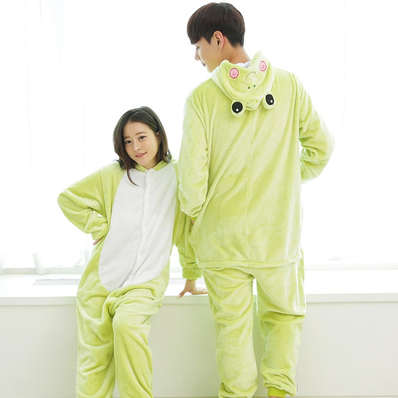 Rana Kigurumis verde claro Onesie encantador Animal pijamas mujeres Unisex adultos mono invierno franela traje