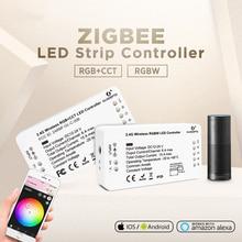 gledopto Zigbee RGBCCT RGBW LED Controller Smart 12V 24V DC Voice Control Echo Plus Smartthings Zigbee 3.0 Hub Strip Controller
