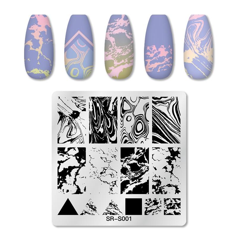 Placas de estampado de uñas de acero inoxidable Plantilla de sello de Arte de uñas Flor de encaje diseños de uñas de mármol Animal herramientas de impresión de manicura