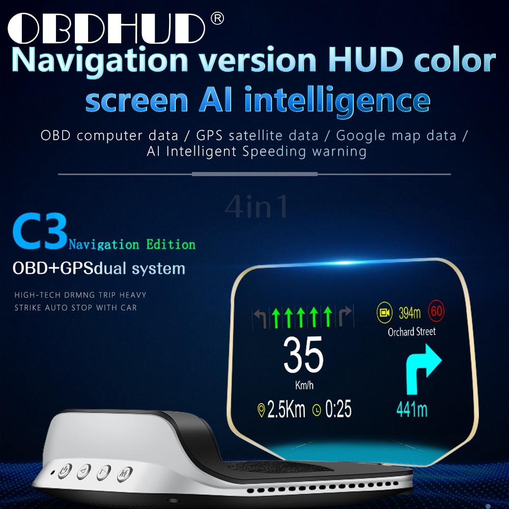 سيارة C3 هود رئيس يصل عرض OBD2 نظام تحديد المواقع المزدوج على متن الكمبيوتر السيارات السرعة الزائدة تحذير الأدوات الذكية الملحقات الإلكترونية